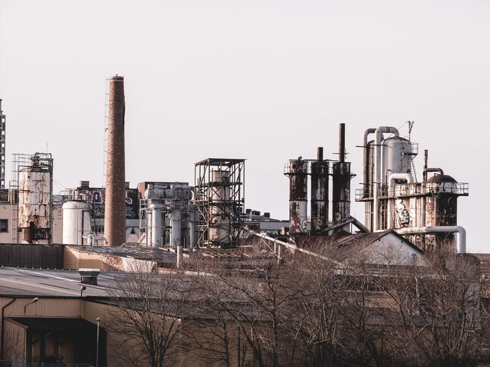 Old industrial buildings and smoke stacks