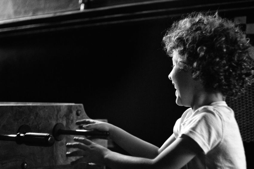 Kids Playing Blackandwhite Mood Curly Hair Tablesoccer Hungary First Eyeem Photo