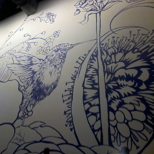 Hummingbird Cafe Hangout Paint Wallpaint art hummingbird bird draw drawing artwork
