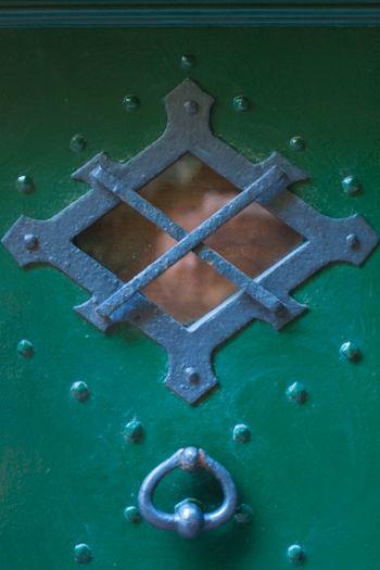 Close-up Day Door Door Window Doornail Green Color Looking Through Window Reflection The Secret Spaces