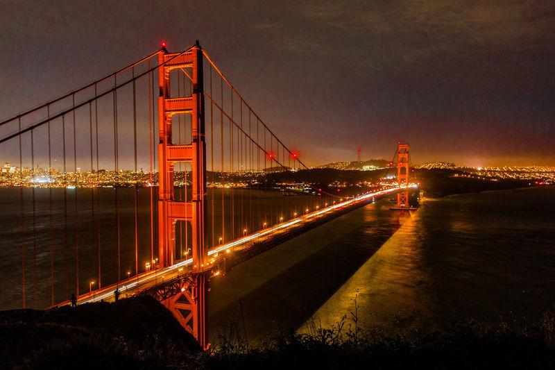 golden gate bridge Water Illuminated Cityscape Sea Red