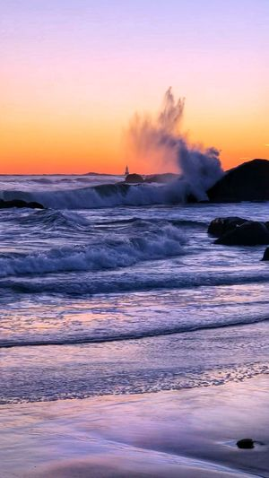 Water Sunset Beauty In Nature Motion Sky Sea Scenics - Nature Horizon Over Water Beach Splashing Nature Breaking Outdoors Wave Non-urban Scene Power In Nature Land Power No People Orange Color