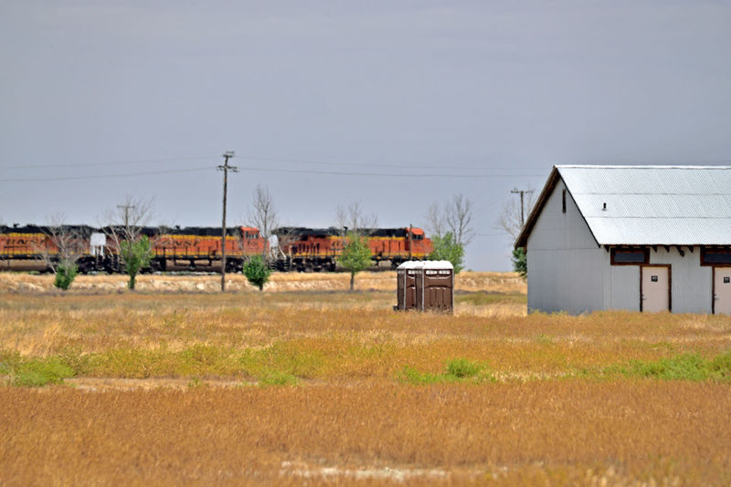 Train Passes Thru Allensworth 3 Allenworth, Ca. Lt. Colonel Allen Allensworth Founded Town 1908 BNSF Railway Freight Railroad Train Engines Burlington Northern & Santa Fe Railway Merged 1996 Owned By Berkshire Hathaway Inc 2nd Largest Freight Railroad In North America Intermodal Freight & Bulk Cargo Rural Scene Farming Community Grassy Field Barn Hut Landscape_Collection Landscape_photography Landscape Power Lines Trees Train_lovers Train Photography