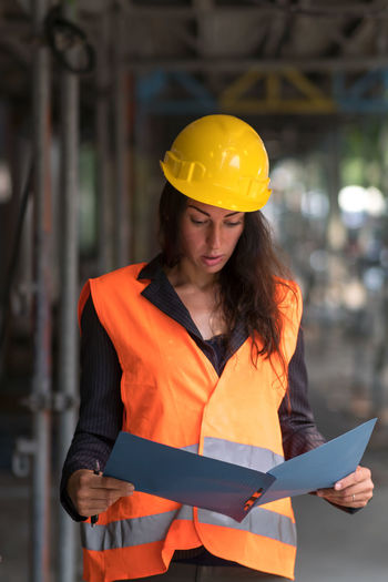 Mid section of woman working