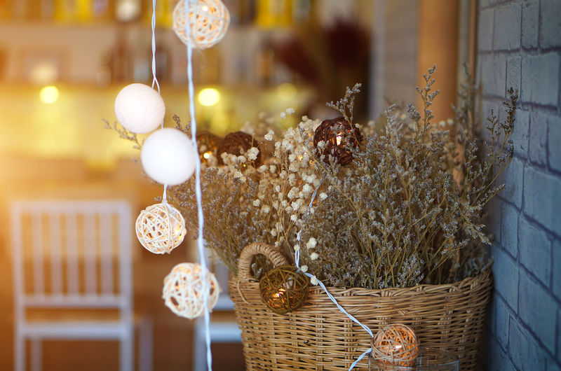 Close-up of decorations hanging by plant at restaurant