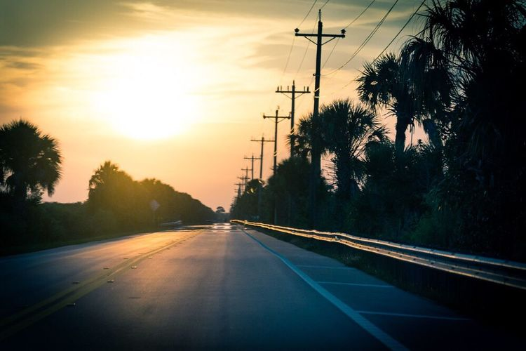 Sommergefühle Sunset Road Transportation The Way Forward Sky No People Tree Outdoors Silhouette Electricity Pylon Scenics Nature Beauty In Nature Telephone Line Day