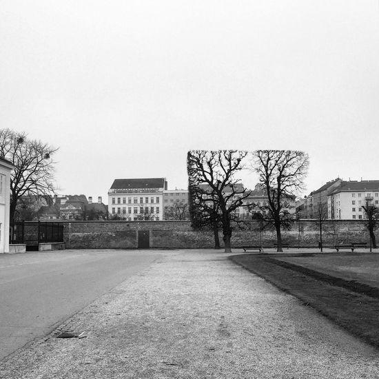 Augarten Park in Vienna in December Blackandwhite