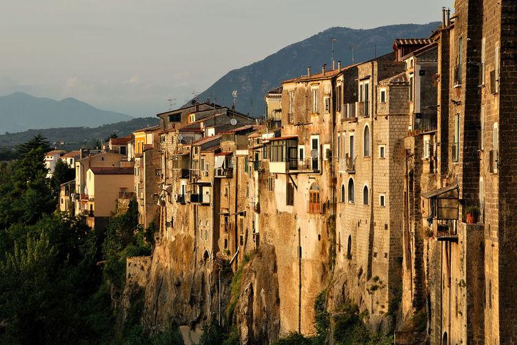 Ancient Benevento Architecture Building Exterior Cliff Italy Landscape Santagatadegoti Sunset Tuff