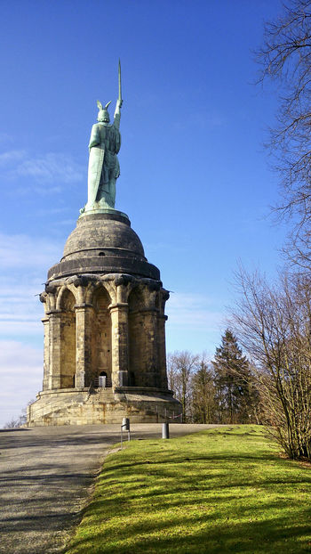 Clear Skies, Sun Shining Day Detmold, Germany Dramatic Angles Dramatic Sky Early Spring Herrmann-the- Cheruscan-monument Herrmannsdenkmal Monument Outdoors Panoramic View PLAKATiv Pre Spring Sky Statues And Monuments Teutoburg Forest Teutoburger Wald Vorfrühling Wideangle