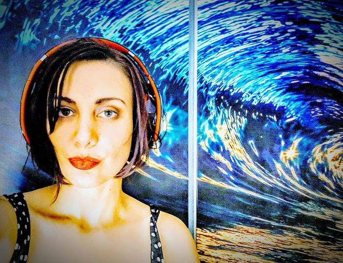 no contacts just played with the lighting a bit Flower Head EyeEmNewHere EyeEm Nature Lover Me At Home Abstract Photography Pixelated Young Women Portrait Looking At Camera Headshot Blue Close-up Double Exposure Multiple Exposure Multi-layered Effect The Bigger Picture