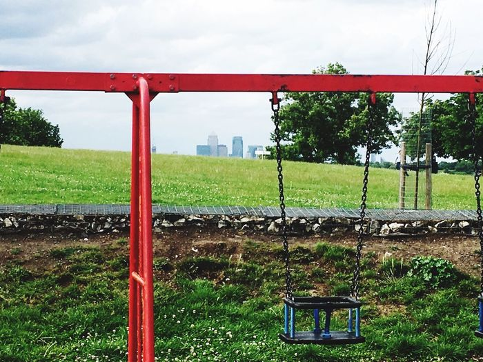Canary Wharf Swings Playground Urban Skyline
