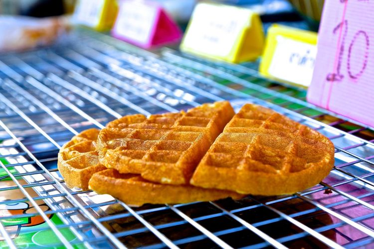 Close-up of waffles on barbecue grill