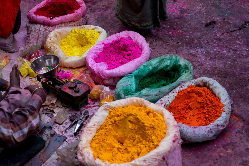 India Holicolorfestival Holifestival Turmeric  Multi Colored Choice Spice Variation Powder Paint Ground - Culinary Market Vibrant Color Holi Ingredient High Angle View Talcum Powder Saturated Color