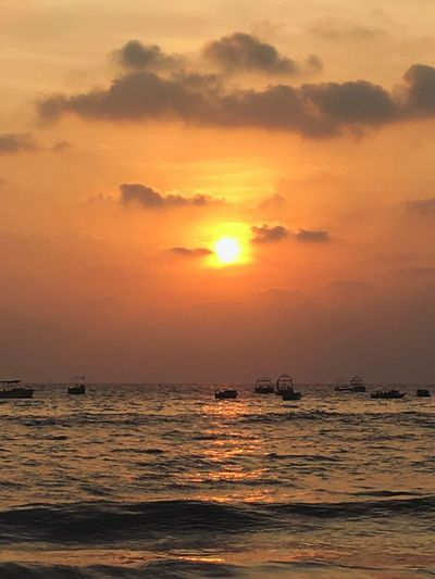 No People Sunset Sea Water Beauty In Nature Sky Scenics Waterfront Tranquility Nature Sun Tranquil Scene Outdoors Horizon Over Water Nautical Vessel Day Goa