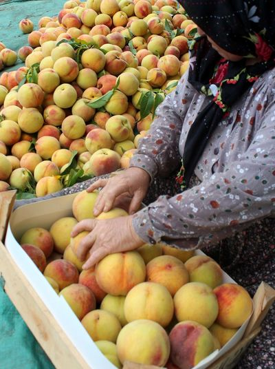 Woman Arranging Peach In Box At Market