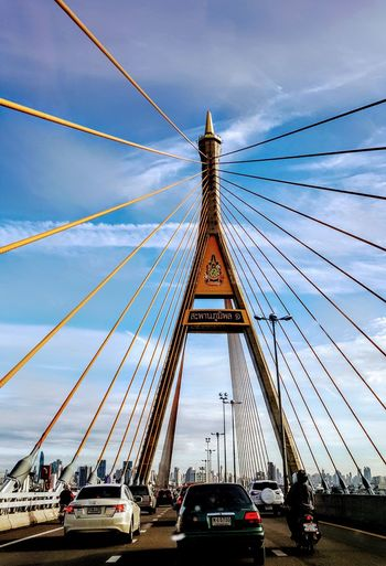 Transportation Thailand King Bhumipol Bridge Modern Suspension Bridge Urban Skyline Cityscape Connection Sky Travel Destinations Architecture Cloudscape High Angle View Built Structure Cloudlovers Cloudscapes InTheMorning Skyscraper Perspective Be. Ready.