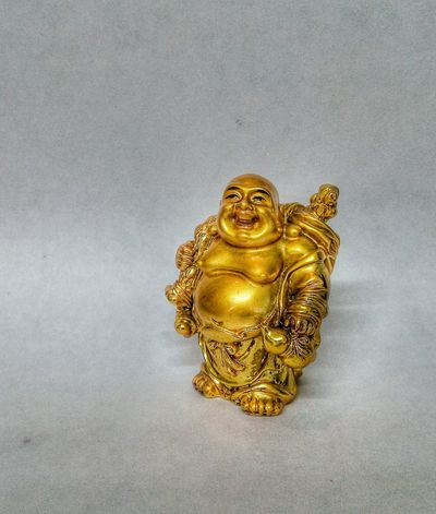 The Laughing Buddha... Gold Colored Religion Statue Spirituality Sculpture Close-up Budai Buddha Laughing LaughingBuddha Statue