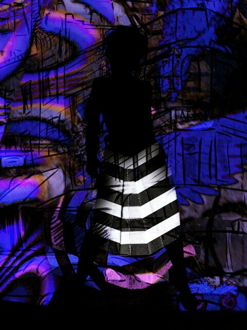 striped, one person, real people, night, full length, indoors, adult, people, adults only