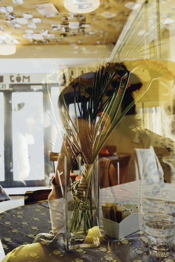 Coffeshop Colour Double Exposure Fashion Indoors  Intimacy Mood Portrait Sitting Warm Colors Warmth Woman