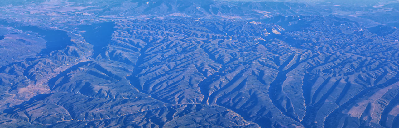 Aerial view of dramatic landscape during winter