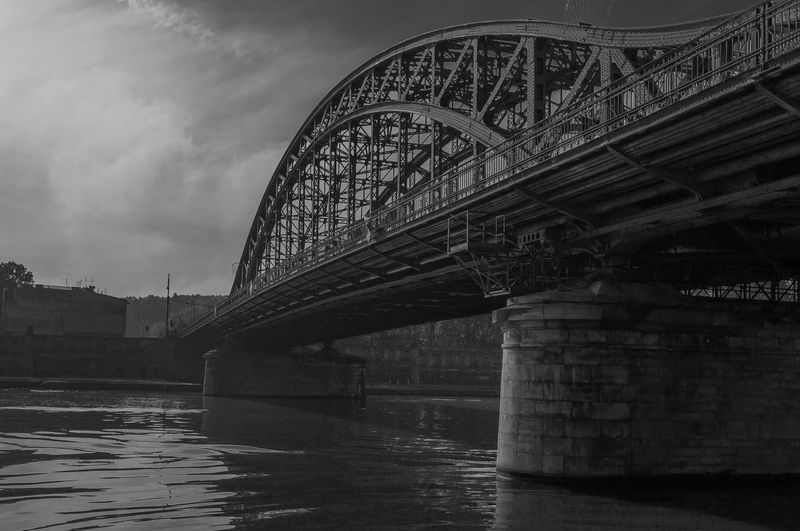 Bridge Connection River Engineering Riverbank Water Arch Krakow Architecture Built Structure Steel Steel Bridge Blackandwhite Bnw Black & White Wide Angle Day Morning Monochromatic Vistula Vistula River Bridge - Man Made Structure Bridge Over Vistula Battle Of The Cities Vintage