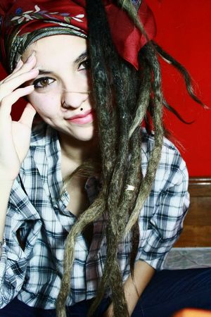Color Portrait Piercing Dreadlocks Dreadgirl