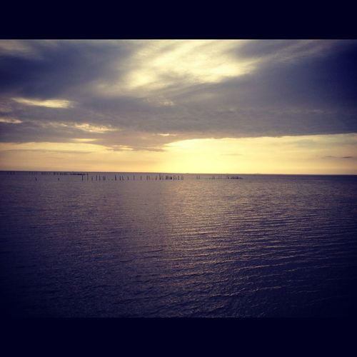 Cloudy winter sunset on Mobile Bay