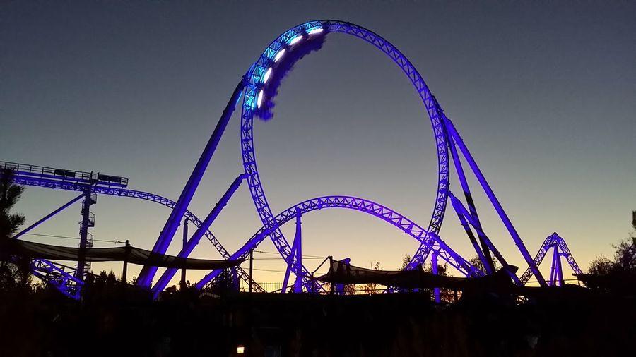 Night Outdoors Rollercoaster Illuminated
