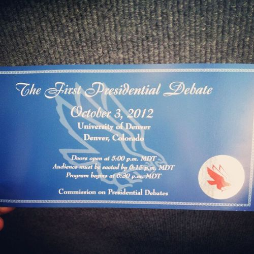 After one huge line, the ticket is in my hands!,Presidentialdebate2012
