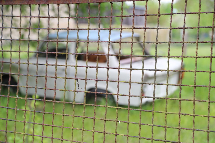 Close-up Day Fence Focus On Foreground Green Color Metal Fence No People Outdoors Trabant601 Trabbi Wrecked Car