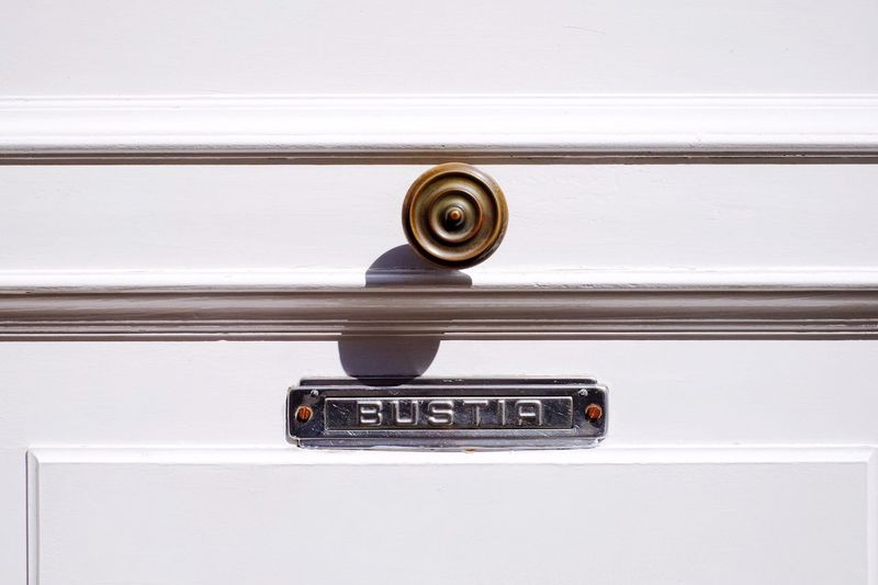 Door Door Knob White White Door Letterbox Wood Door Architectural Detail Close-up Close Up Closeup SPAIN Light And Shadow