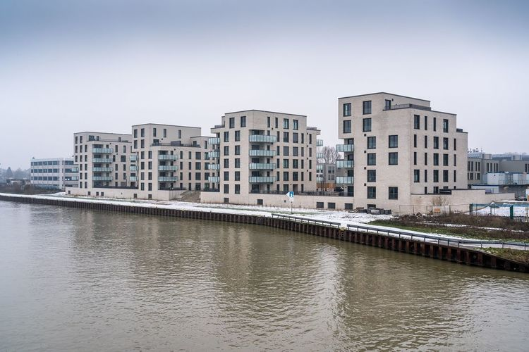gloomy winter days in Hannover, Germany Winter Hannover Germany Lower Saxony Niedersachsen Mittellandkanal Gloomy Day Canal Canals And Waterways Urban Landscape Neubauten Modern Architecture