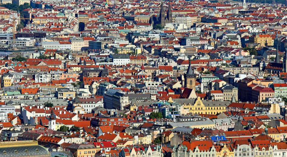 Prague is the capital of czech republic in europe. aerial view with houses and palaces