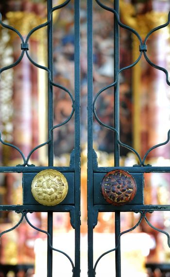 Metal Closed Gate Door Close-up No People Pattern Travel Destinations Church Architecture Built Structure Architectural Detail The Week On EyeEm My Point Of View Taking Photos Church Detail Place Of Worship Architectural Column History Indoors  Religion Church Gate Gate Details Backgrounds Focus On Foreground First Eyeem Photo