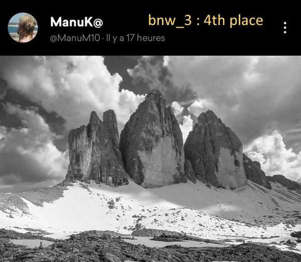 Congratulations, dear Manu, for this wonderful picture. The number 3 is first present in the name of this mythical mountain. You make me want to go hiking in this beautiful massif of the Dolomites. Bravissimo. Bnw_3 Bnw_friday_eyeemchallenge