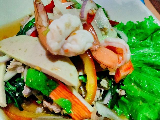 Freshness Healthy Eating Food Asian Food Dietfood Spicy Thai Food Thai Spicy Salad Supper Shrimp Spicy Thai Shrimp Salad With Squid And Pork