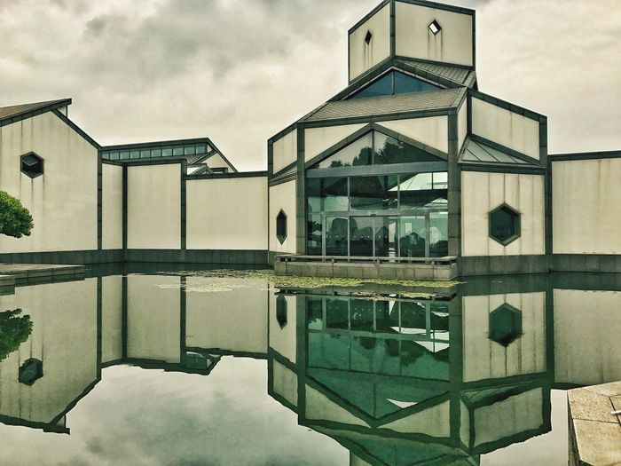 Suzhou Museum. Reflection Sky Built Structure Architecture Cloud - Sky Water Building Exterior Day Outdoors Swimming Pool No People