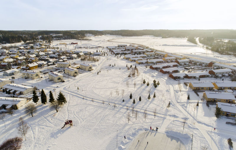 Drone  Finland Ice Kids Nummela Scandinavia Winter Aerial Buidlings Cold Countryside Horizon Ilmakuva Playground Small Snow Sun Sunset Town