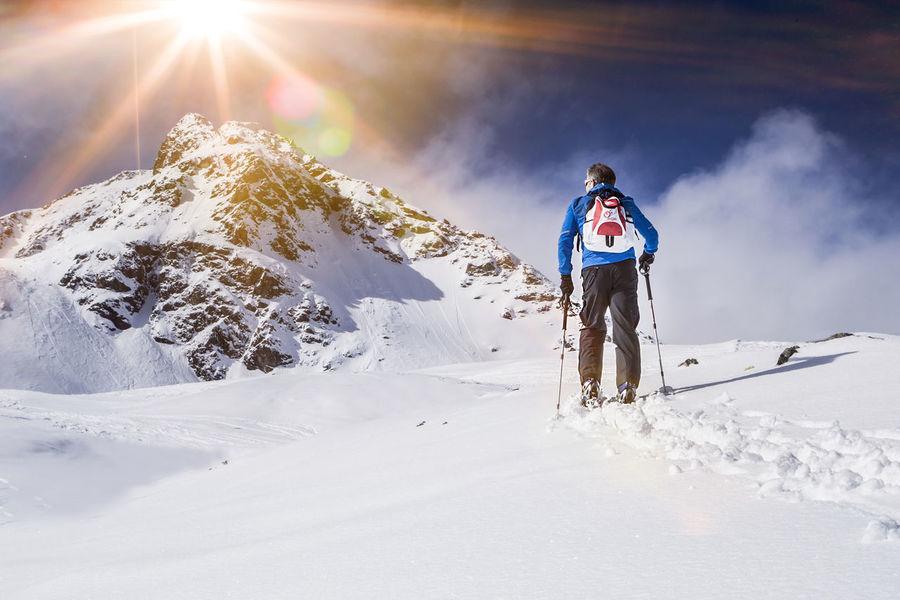 Ski mountaineering, man ascending Ascending Bavaria Holiday Man Mountaineering Südtirol Tirol  Activity Adventure Alps Arlberg Backcountry Fitness Guide Ischgl Mountain Outdoors Powder Sellrain Ski Skitouring Snow Soelden Tour Winter