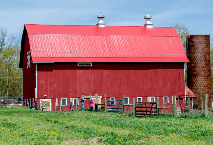 a beautiful large red barn on a farm in Michigan USA Barn Country Pasture Rural Agriculture Photography Architecture Building Building Exterior Built Structure Countryside Life Day Grass Michigan USA Nature No People Outdoors Red Red Barns Silo Sky