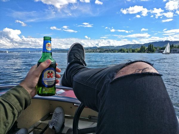Switzerland life Drink Bottle Food And Drink Sitting Beer - Alcohol Refreshment Drinking Water One Person Alcohol Leisure Activity Day Cloud - Sky Lake Drinking Straw Low Section People Human Leg Outdoors Human Body Part