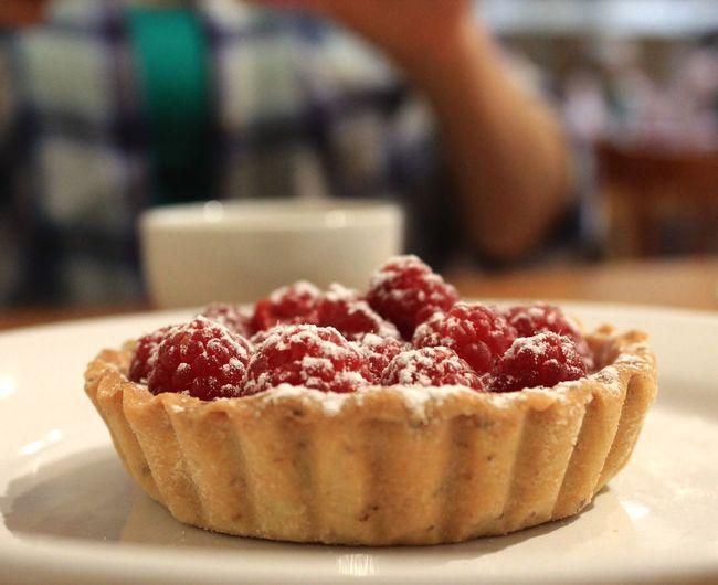 Close-Up Of Raspberry Tart On Plate