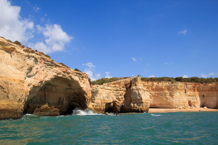 The splendid Cliffs at Portugal in the Algarve Albufeira Portugal Algarve Algarve, Portugal Cliffs Sea Sky Water Scenics - Nature Beauty In Nature Tranquility Nature No People Day Rock Rock - Object Rock Formation Outdoors Landscape_Collection Landscape_photography Landscape Non-urban Scene Beach Cloud - Sky