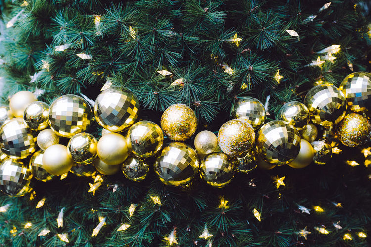 Close-Up Of Christmas Decorations At Night