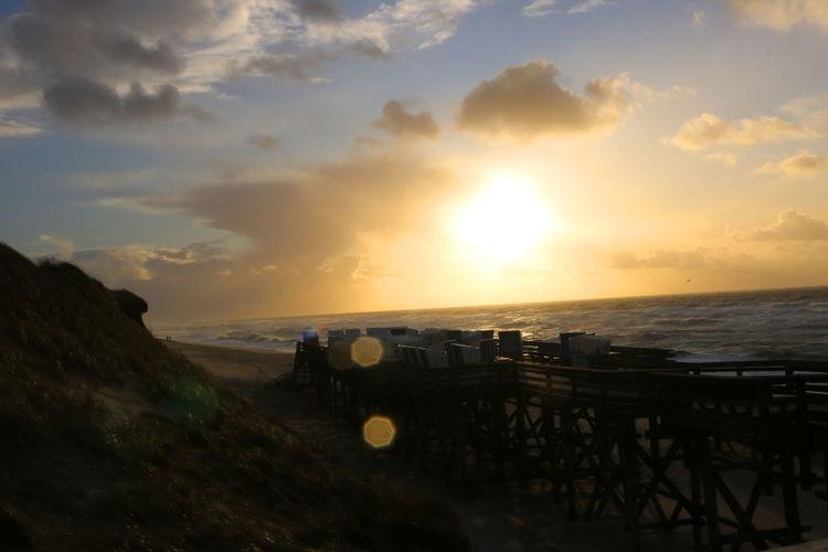 Sunday Beach Beauty In Nature Coast Nature North Sea Outdoors Sea Wooden Platform Beach Chairs