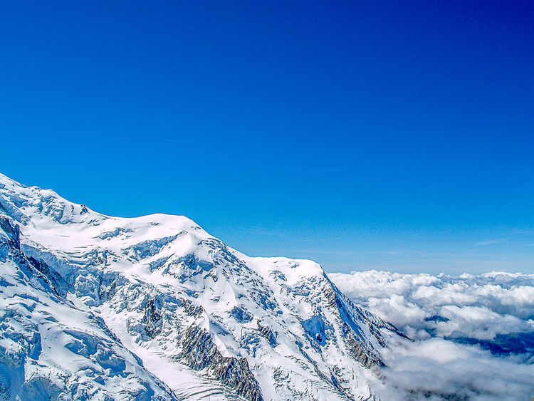 Mont-Blanc mountain range Beauty In Nature Blue Clear Sky Cold Temperature Day Landscape Low Angle View Mountain Nature No People Outdoors Scenics Sky Snow Tranquil Scene Winter EyeEmNewHere