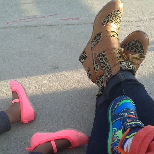 Our Field trip Shoegame ... ILoveBrightColors and my CheetahSneakerWedges ... They make me Runfaster ... Like FlashLightning