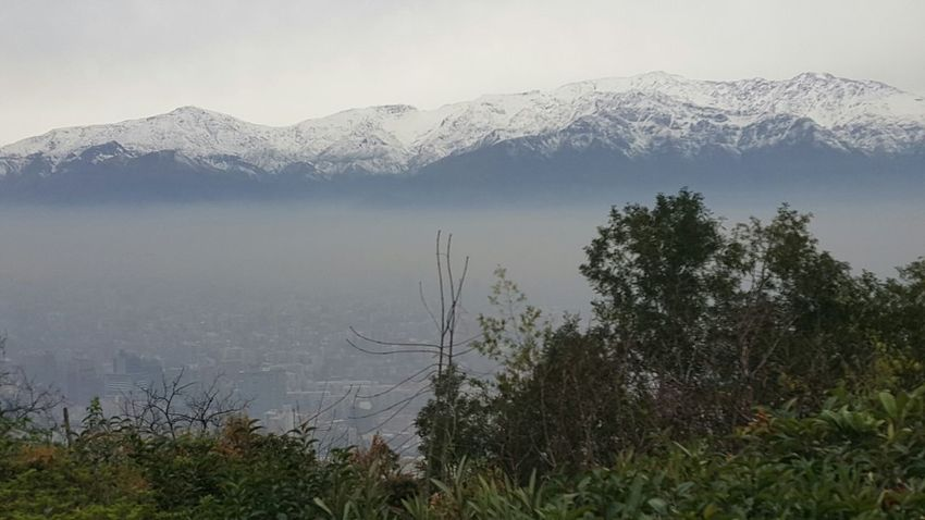 I were in Chile Santiago Travelling Mountains Andesif you look closer you may see the City in the Fog