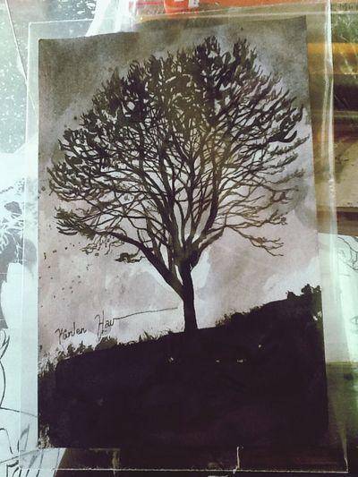 Árbol en la tarde... Art Painting Watercolor Drawing
