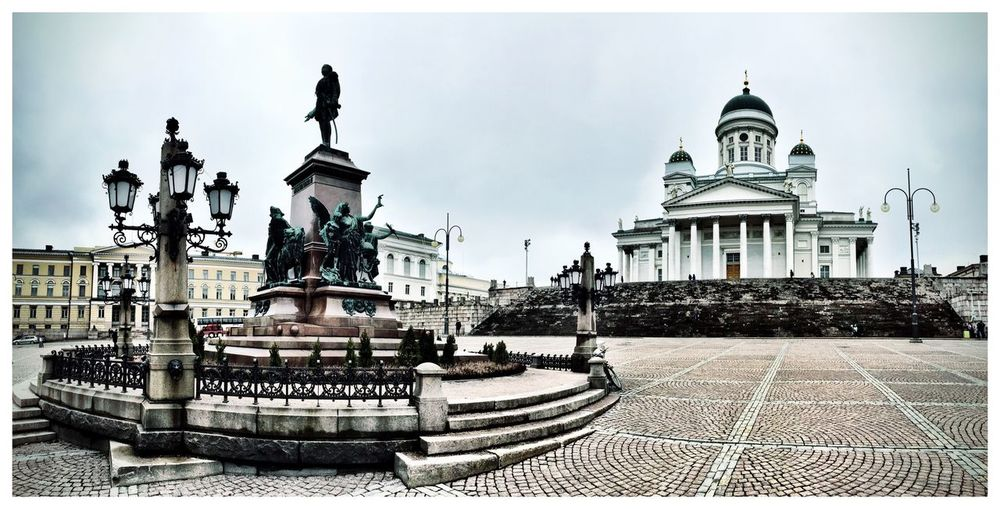 Gloomy Sunday afternoon in Helsinki Helsinki Finland Gloomy Gloomy Day Gloomy Weather Sunday Lazy Sunday Wandering Around Aimlessly Taking Photos Senatesquare Panoramic Panoramic Photography IPhoneography Nordic Grey Sky Taking Pictures Tuomiokirkko Cathedral Showcase April